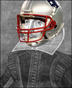 Shakespeare with Patriots helmet