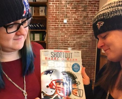 Jen and Lindsay with Super Bowl magazine