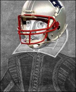 Shakespeare with Patriots helmet